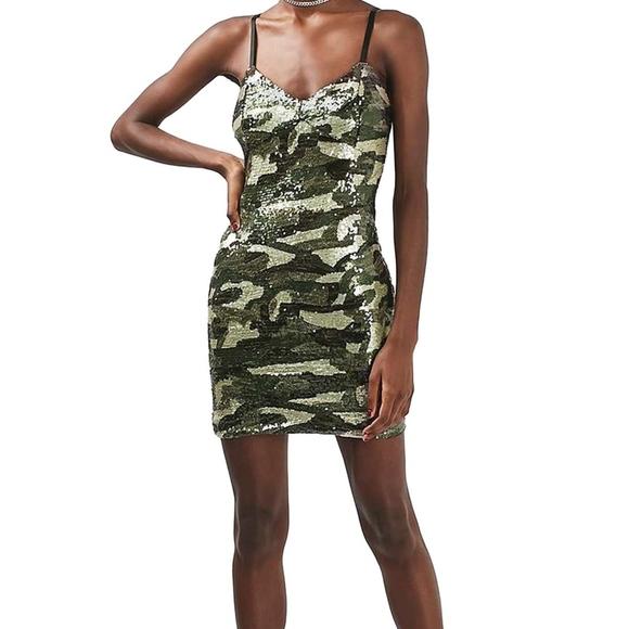 810af5e09f3b Camo Sequin Slip Dress. Sizing Reads US 6. M_5a7a5b84077b97d50a25df70